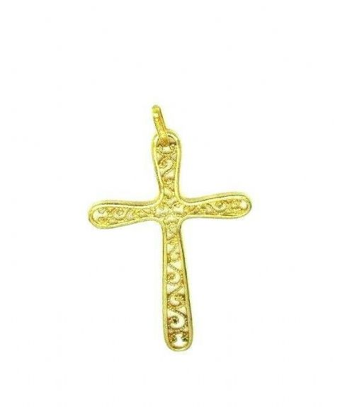 Vintage 9ct Yellow Gold Hallmarked Filigree Cutout Cross/ Crucifix Pendant